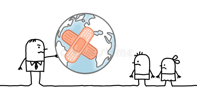 Cartoon man giving a sick planet to his children. Vector stock illustration