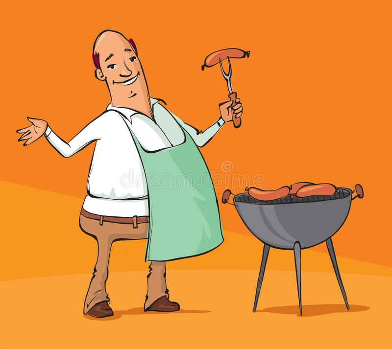 Cartoon man grilling sausages on the BBQ. Vector illustration of a man grilling sausages on the barbecue vector illustration