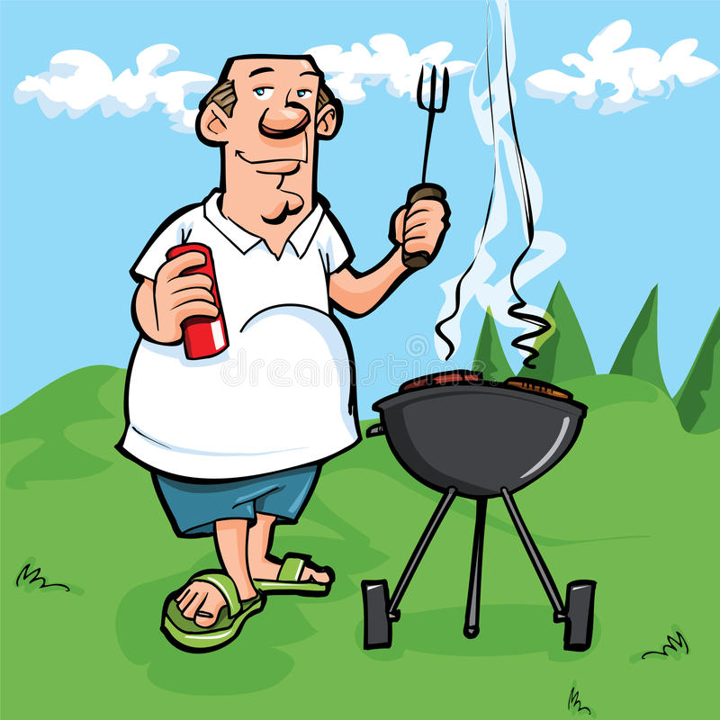 Cartoon of man having a BBQ. He is outside on the grass with blue sky behind him royalty free illustration
