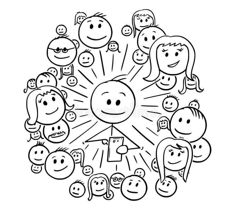 Cartoon of Man and His Social Network Connections. Cartoon stick drawing conceptual illustration of man and his social network connections, friends or community vector illustration