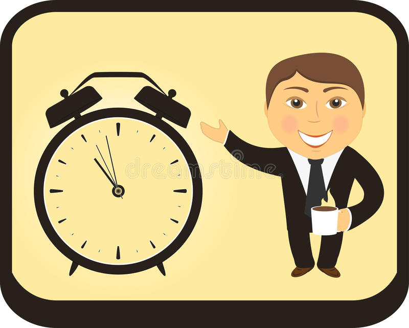 Download Cartoon Man Hold Coffee Cup And Clock Alarm Stock Vector - Illustration of positive, frame: 27879959