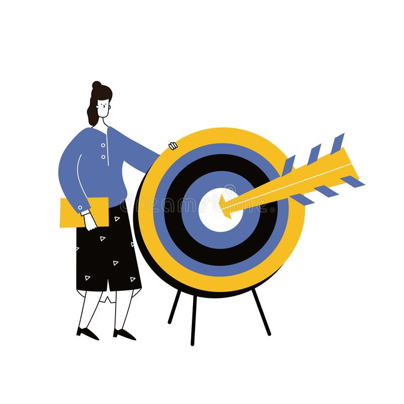 Cartoon man holding dart board with direct hit on target. Purpose in business, success, goal achievement, victory. Marketing strat vector illustration