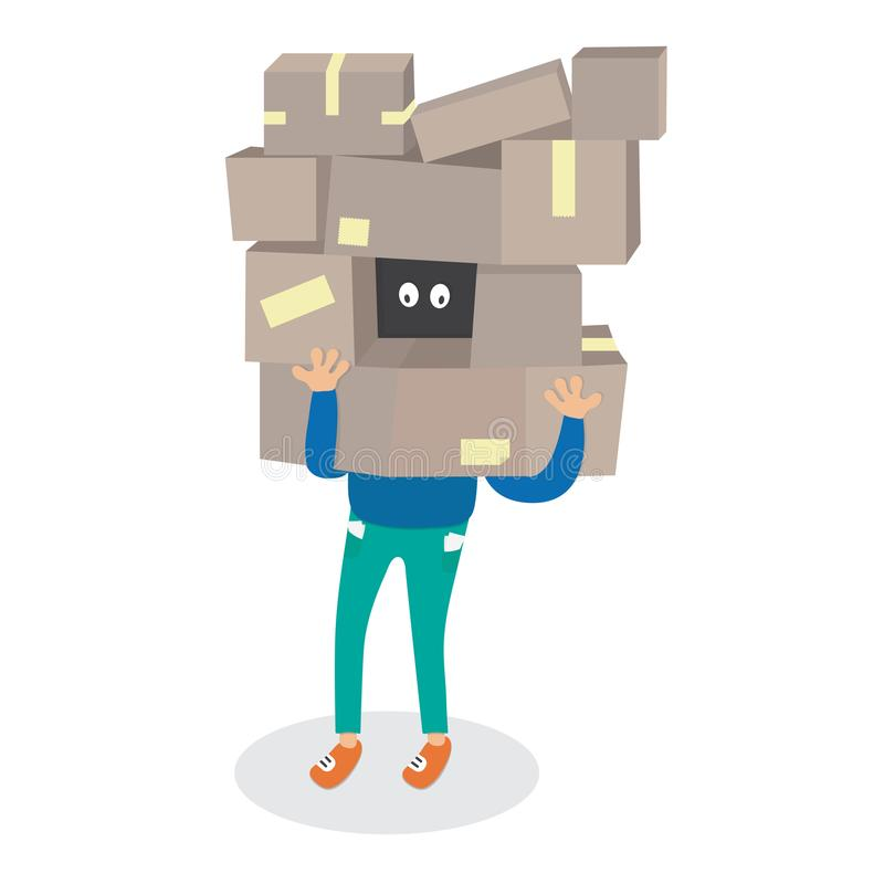 Cartoon man holding a lot of boxes vector shopping illustration isolated. Package cargo manipulation stock illustration