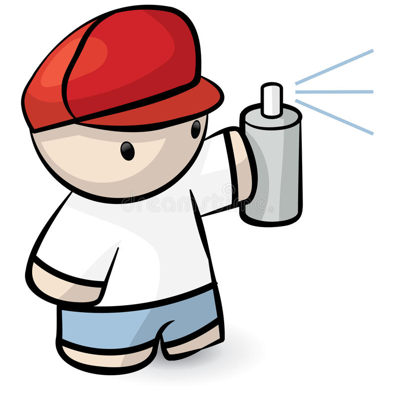 Download Cartoon Man Holding Spray Can Royalty Free Stock Photography - Image: 12066707