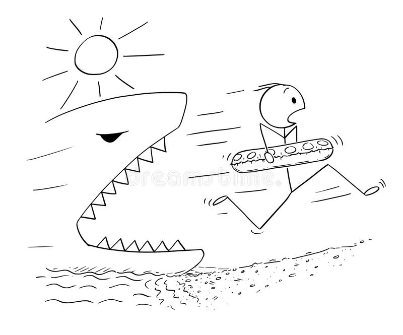 Cartoon of Man Holding Swimming Ring and Running On the Beach Away From Giant Shark or Fish. Cartoon stick drawing conceptual illustration of man holding royalty free illustration