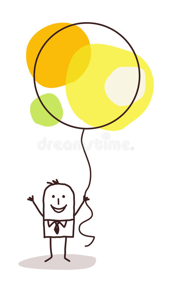 Cartoon man holding up a big celebration balloon royalty free stock images