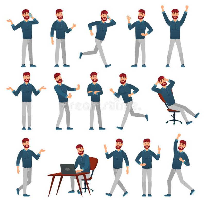 Free Cartoon Man In Casual Outfit. Male Character In Different Poses, Walking Guy And Standing Man Vector Illustration Set Stock Photo - 158648420