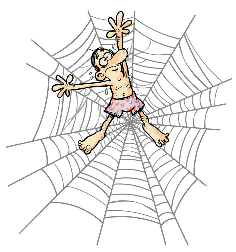 Free Cartoon Man In Spider Web. Stock Images - 31544884