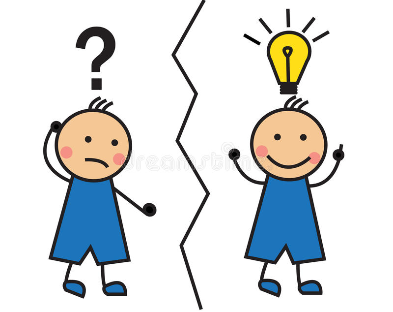 Download Cartoon Man Looking For A Solution And It Comes To Mind The Idea Stock Illustration