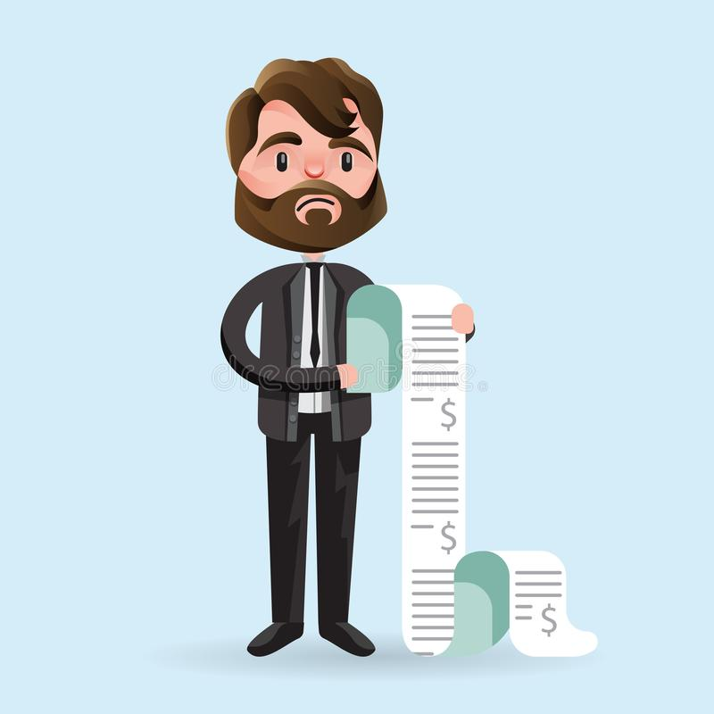 Upset cartoon man with long bills. Cartoon man looking unhappy while holding long paper bills on blue background stock illustration