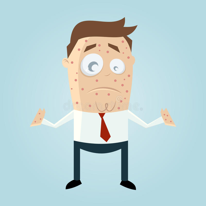 Cartoon man with measles stock illustration