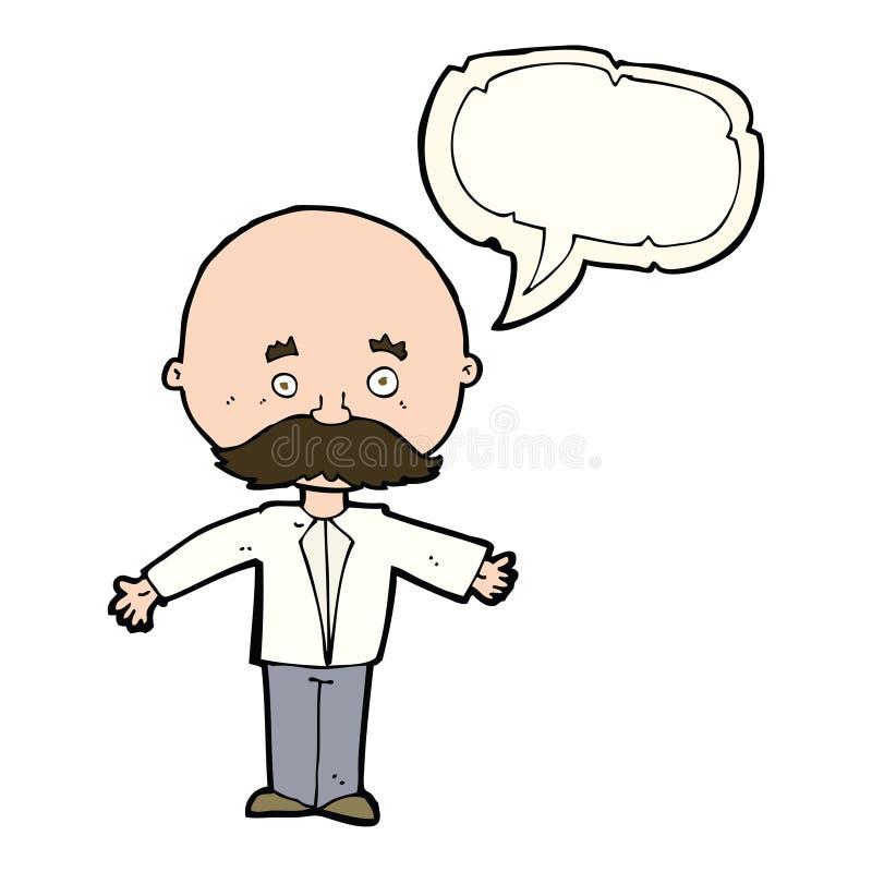 Cartoon man with mustache with speech bubble stock illustration