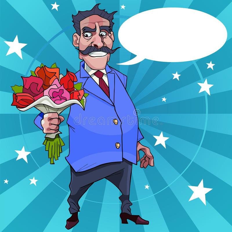 Cartoon man with a mustache wishes with flowers in their hands vector illustration