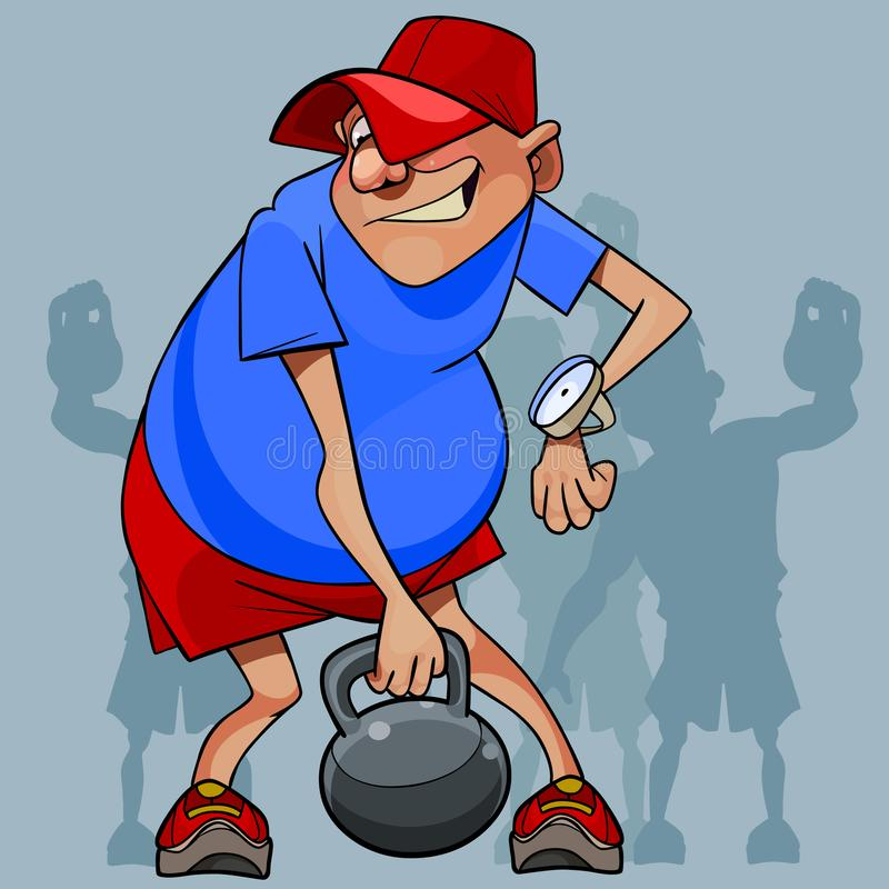 Cartoon man is not an athlete trying to lift a weight. Cartoon man is not an athlete trying to lift a kettlebell royalty free illustration