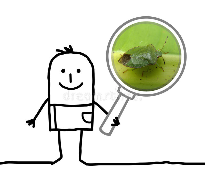 Cartoon man observing a bug with a magnifying glass royalty free stock photography