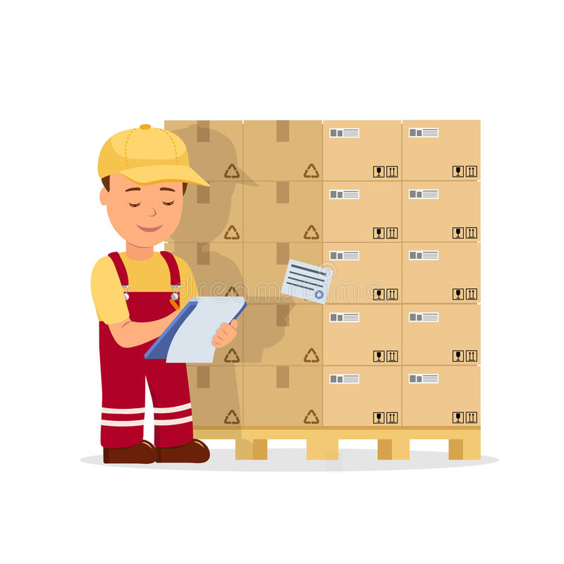 Cartoon man operator maintains records the cargo holding clipboard. Warehouse worker checking goods on pallet vector illustration