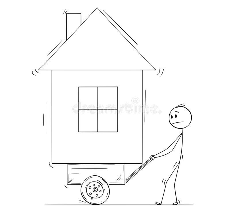Cartoon of Man Pushing His House on Handcart or Cart vector illustration