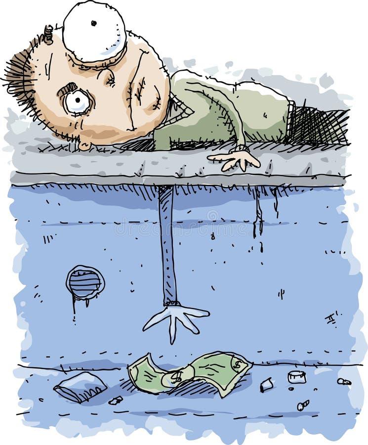 Cartoon Man Reaching for Money Through Hole stock illustration
