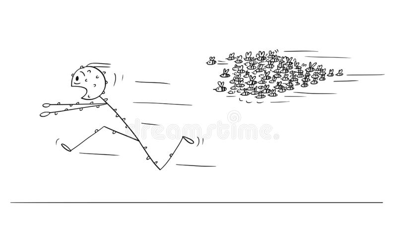 Cartoon of Man Running Away From Attacking Swarm of Bees or Wasps. Cartoon stick figure drawing conceptual illustration of man running in panic away from stock illustration