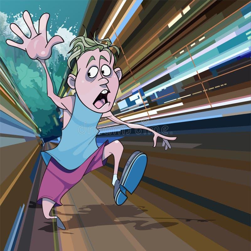 Cartoon man running away in fear from the giant tsunami waves. Cartoon man running away in fear from giant tsunami waves vector illustration