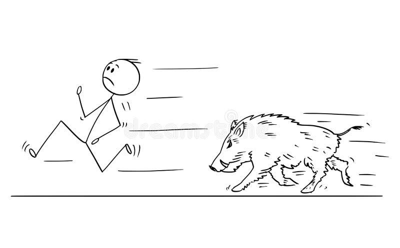 Cartoon of Man Running Away From Wild Boar stock illustration
