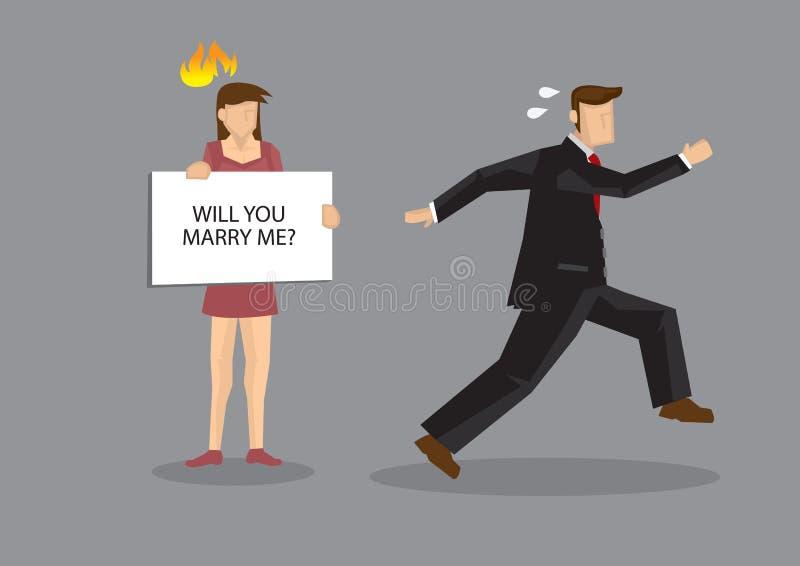 Man Runs Away from Marriage Cartoon Vector Illustration royalty free illustration