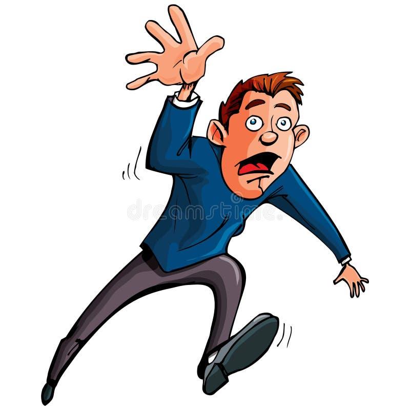 Cartoon man running and reaching forward royalty free illustration