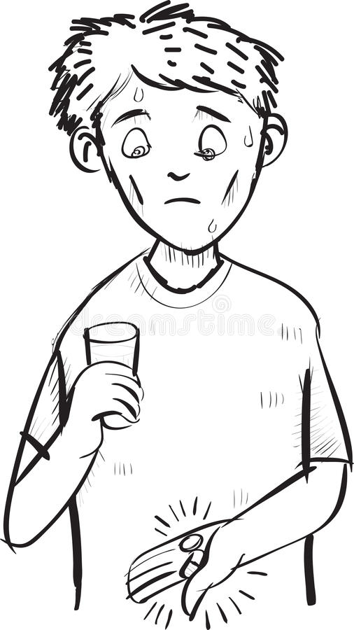 Cartoon of man scared of a pill and capsule. line art drawing vector illustration