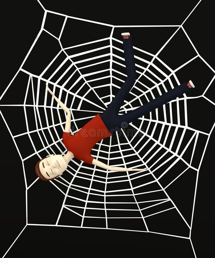 Cartoon man in spiderweb royalty free illustration