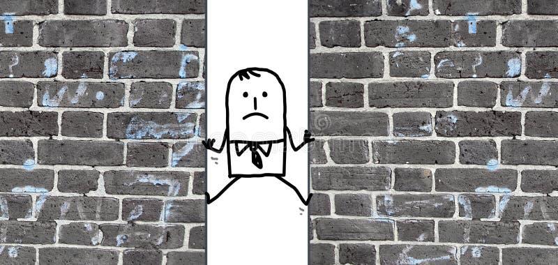 Cartoon man squeezed between two walls stock image