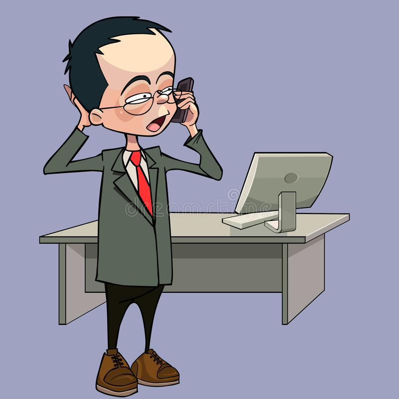 Cartoon man talking on the phone standing next to a table with a computer. Cartoon man talking on the phone standing next to table with a computer royalty free illustration