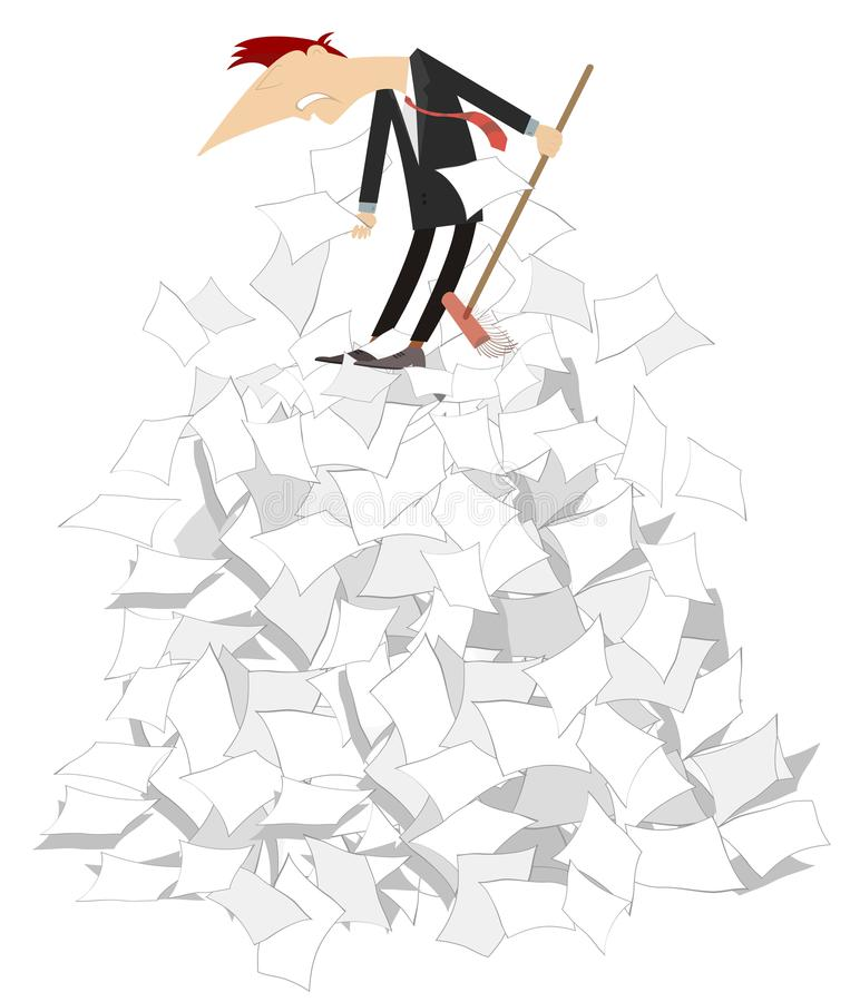 Free Cartoon Man Tidying Up Papers Illustration Isolated Royalty Free Stock Images - 121801049