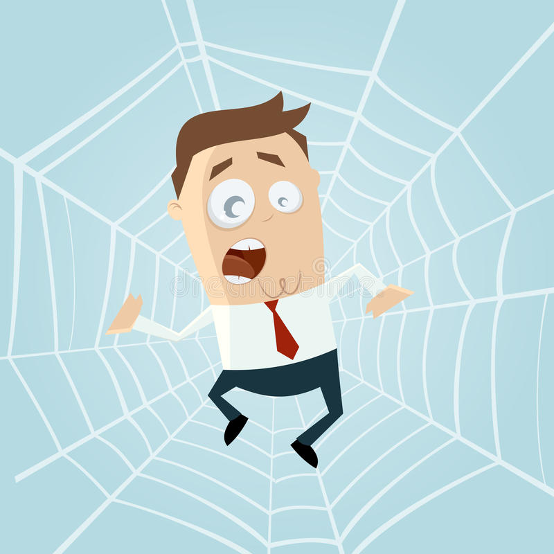 Download Cartoon Man Trapped In Spiderweb Stock Vector - Image: 32004403