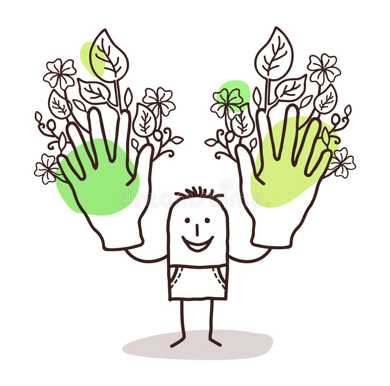 Cartoon man with two big green hands stock illustration