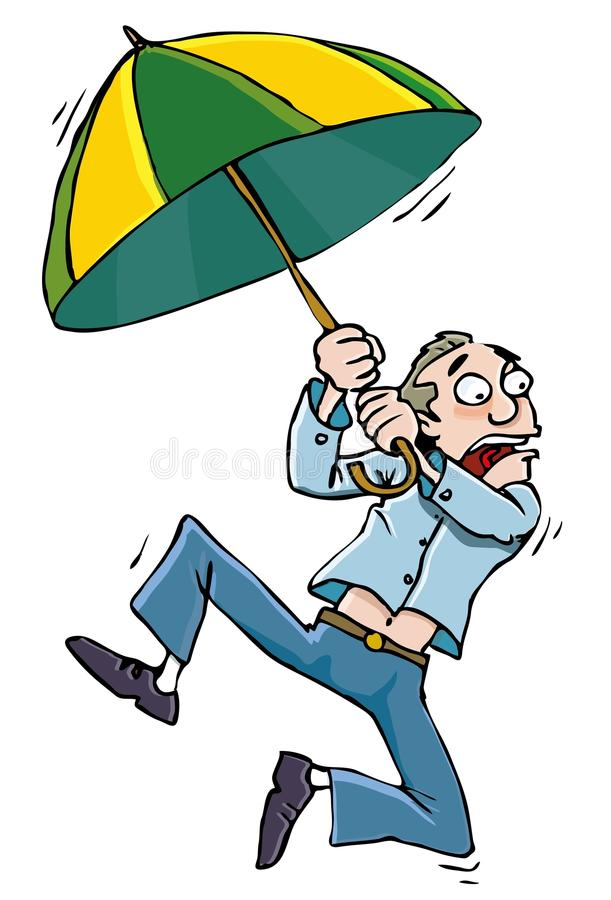 Download Cartoon Man With An Umbrellabeing Whisked Away Stock Vector - Image: 21447607