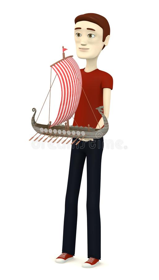 Download Cartoon Man With Vikings Ship Stock Illustration - Illustration of illustration, ship: 31202763