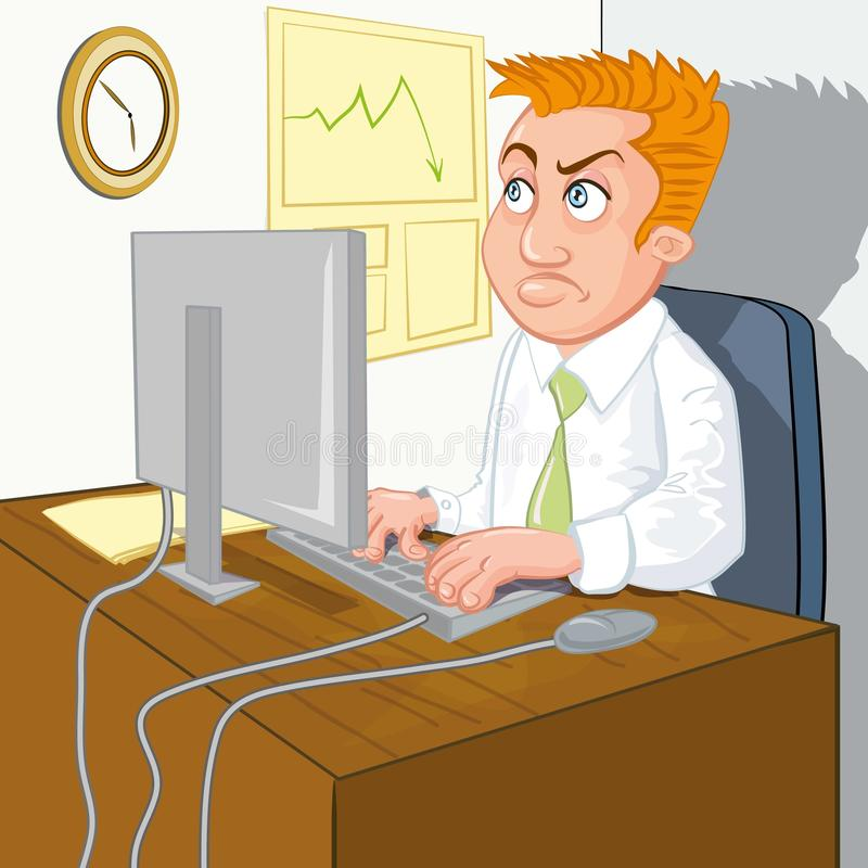Cartoon of a man waiting for home time royalty free illustration