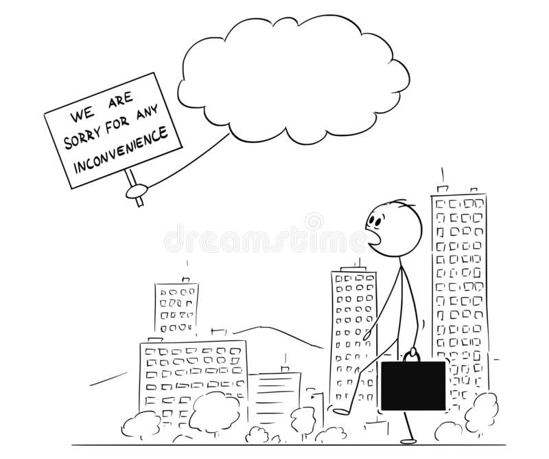 Cartoon of Man Walking on Street and Watching Message of Apology From God or Creator stock illustration