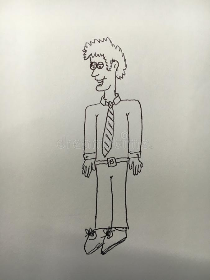Cartoon of man wearing a shirt and tie royalty free stock images