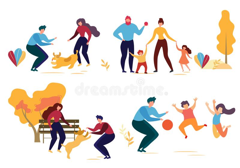Cartoon Man Woman Dog Family Character in Park royalty free illustration