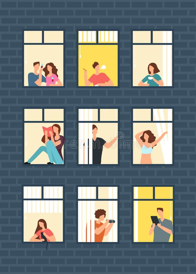 Cartoon man and woman neighbors in apartment windows in building. Happy neighborhood vector flat concept. Building window with man or woman character vector illustration