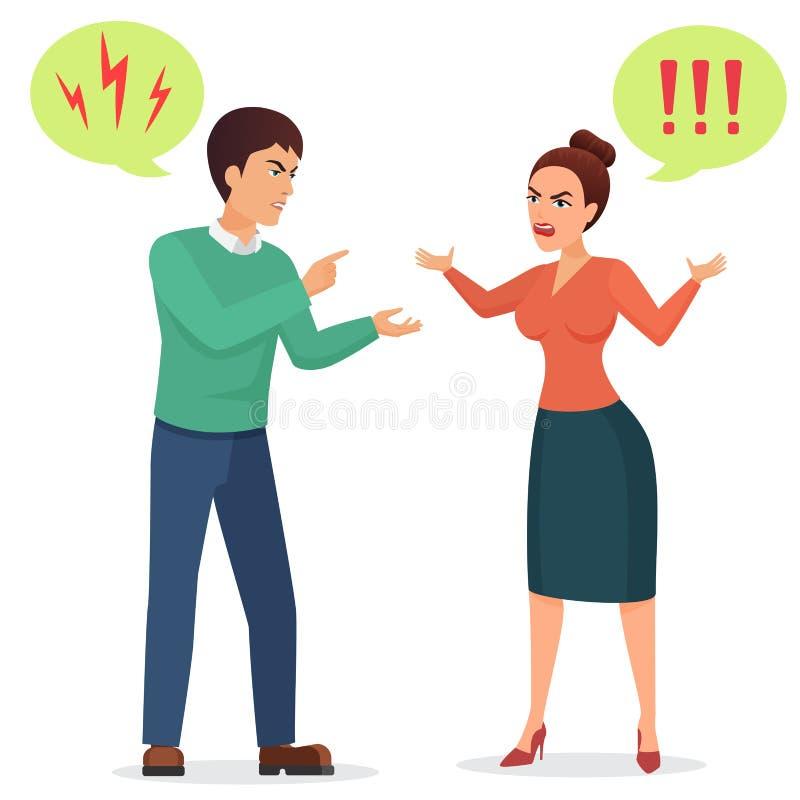Cartoon Man and woman quarreling. Angry couple quarrel vector flat illustration. stock illustration