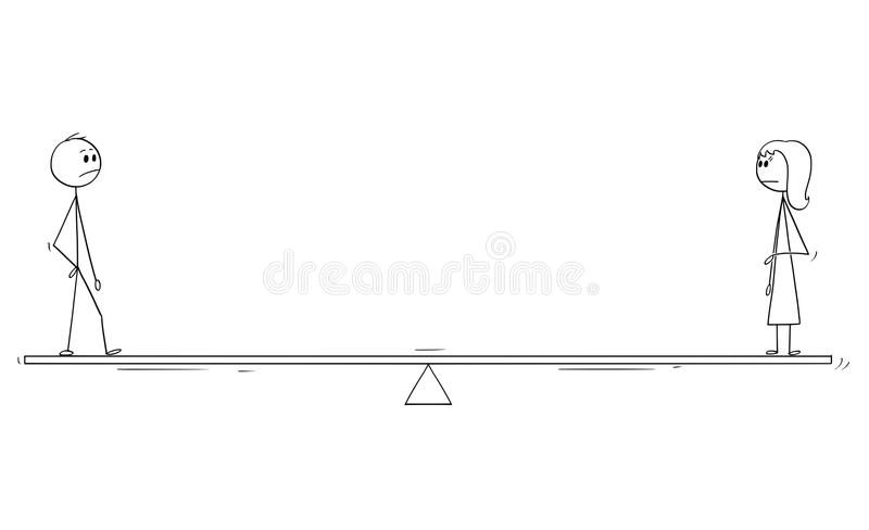 Cartoon of Man and Woman Standing on Balance Scale. Cartoon stick man drawing conceptual illustration of man and woman standing on balance scale. Concept of stock illustration