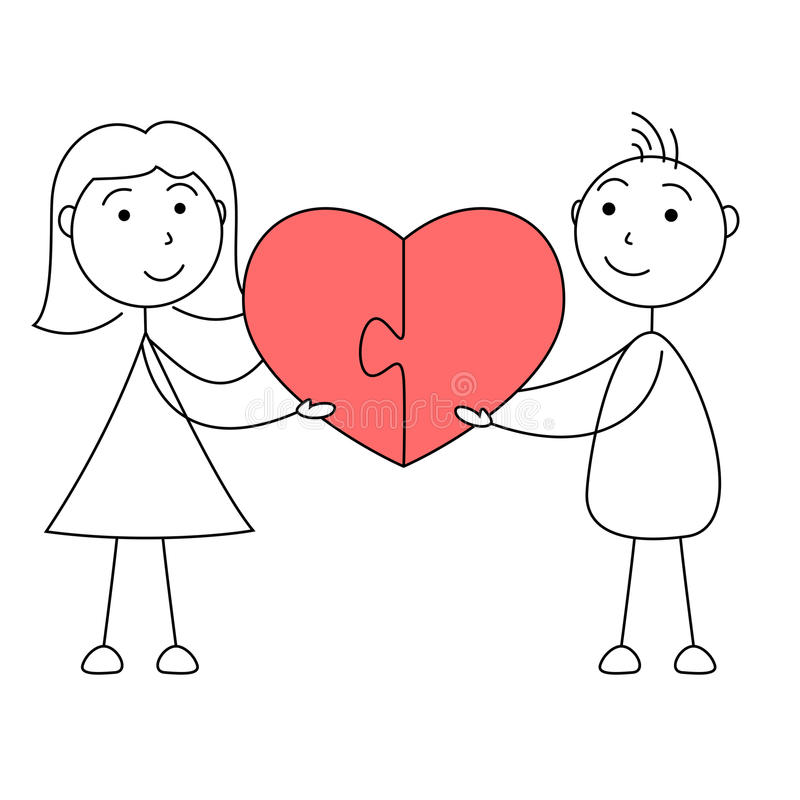 Cartoon man and woman stick figures joining puzzle of heart. Illustration of cartoon man and woman stick figures joining puzzle of heart royalty free illustration
