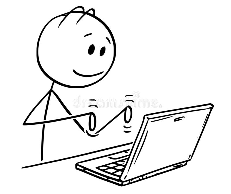 Cartoon of Man Working and Typing on Laptop Computer. Cartoon stick figure drawing conceptual illustration of smiling man working and typing on laptop computer vector illustration