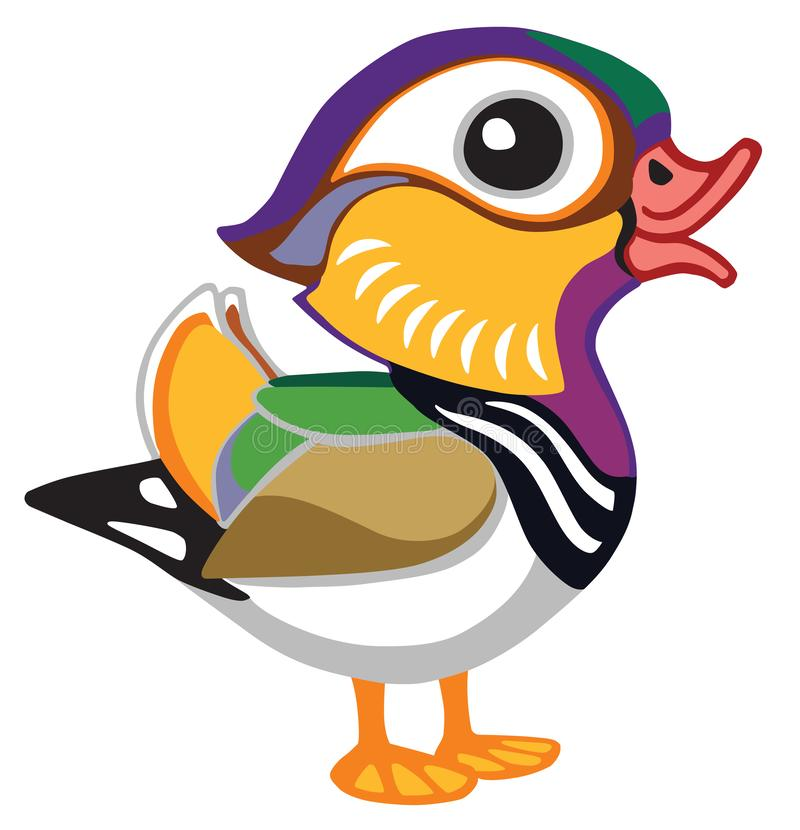 Cartoon mandarin duck male. Side view illustration. Isolated vector for baby and little kid royalty free illustration
