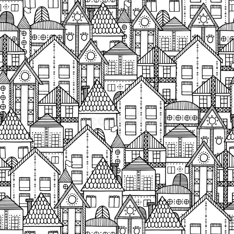 Cartoon manual Vintage town padrão sem costura ilustração do vetor