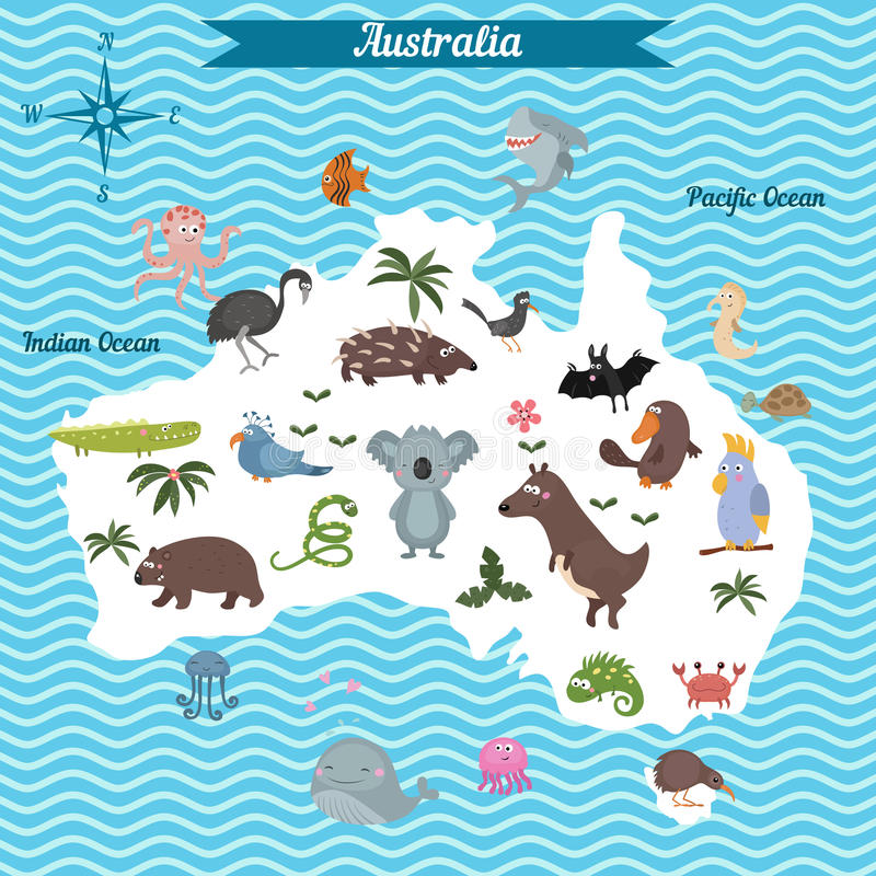 cartoon map of australia continent with different animals colorful cartoon illustration for children and kids australia mammals and sea life