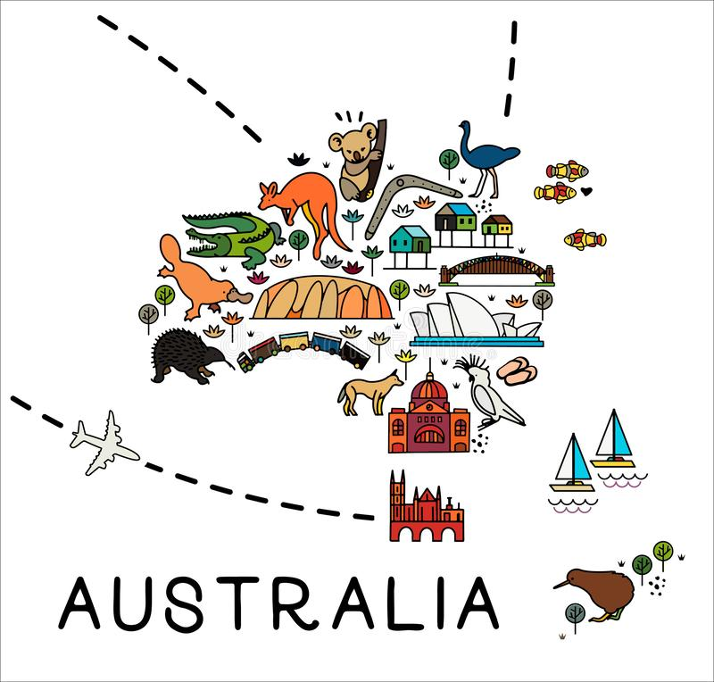 Cartoon map of Australia. Australia travel guide. Travel Poster with animals and sightseeing attractions. vector illustration