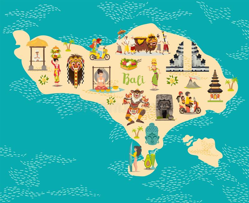 Cartoon map of Bali for kid and children. Bali landmarks vector cute poster stock illustration